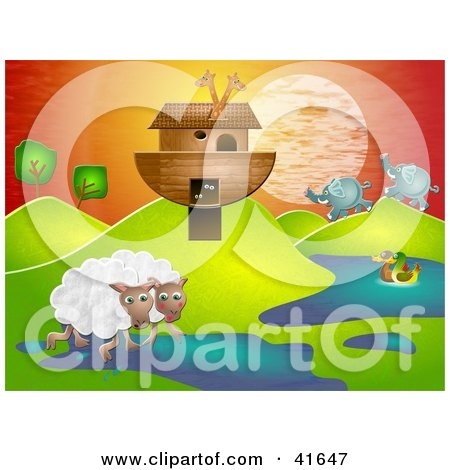 Clipart Illustration of Sheep, Elephant And Ducks Near Giraffes On Noahs Ark In A Hilly Landscape by Prawny