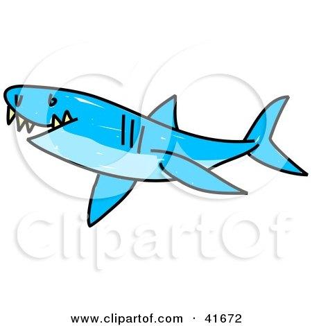 Clipart Illustration of a Sketched Blue Shark by Prawny