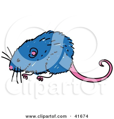 Clipart Illustration of a Sketched Blue Vole by Prawny