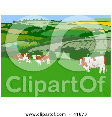 Clipart Illustration of Cattle in a Pasture by Prawny