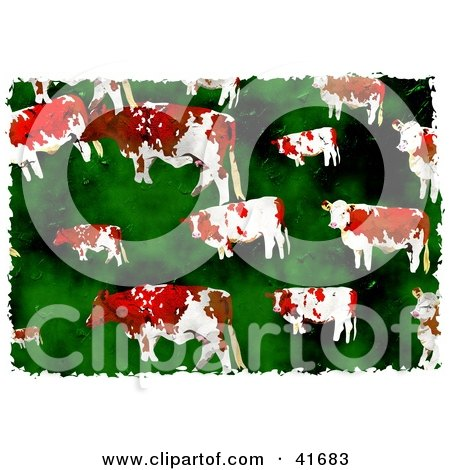 Clipart Illustration of a Grungy Cows In Green Pasture Background by Prawny