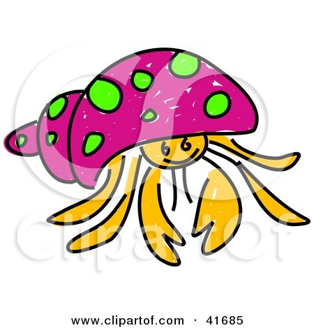 Clipart Illustration of a Sketched Pink Hermit Crab by Prawny