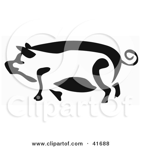 Clipart Illustration of a Black And White Paintbrush Stroke Styled Pig by Prawny