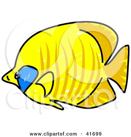 Clipart Illustration of a Sketched Golden Butterfly Fish by Prawny
