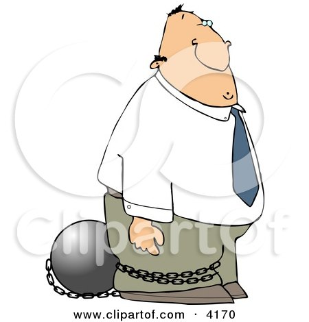 Convicted White Businessman Wearing a Ball and Chain Clipart by djart