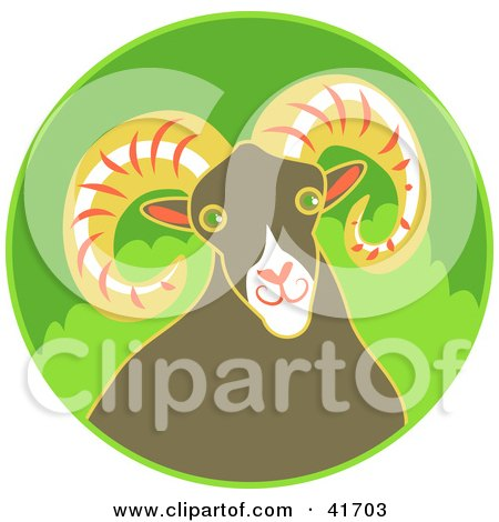 Clipart Illustration of a Friendly Brown Ram With Big Curling Horns by Prawny