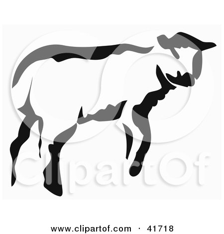 Clipart Illustration of a Black And White Paintbrush Stroke Styled Calf or Lamb by Prawny
