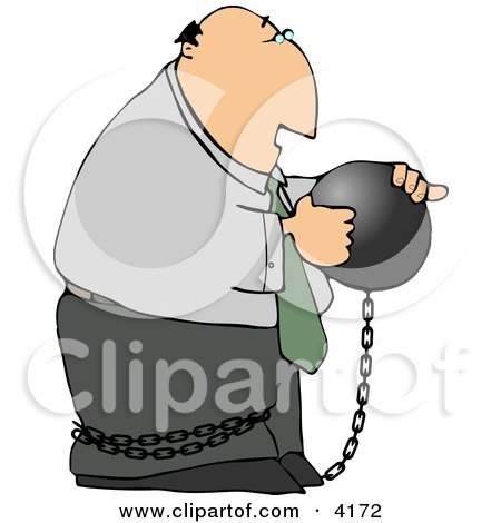 Businessman Criminal Wearing a Ball and Chain Clipart by djart