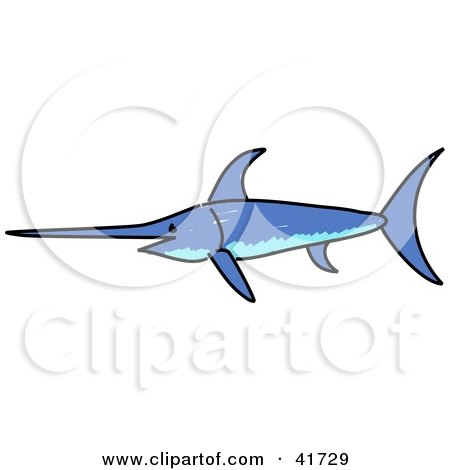 Clipart Illustration of a Sketched Blue Swordfish by Prawny