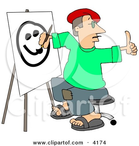 Male Artist Drawing a Smiley Face On Canvas with a Paintbrush Posters, Art Prints