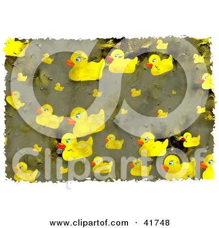 Clipart Illustration of a Grungy Yellow Rubber Ducky Background by Prawny