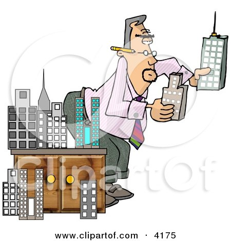Male Architect Putting a Model City Together Clipart by djart