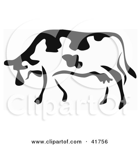 Clipart Illustration of a Black And White Paintbrush Stroke Styled Cow by Prawny