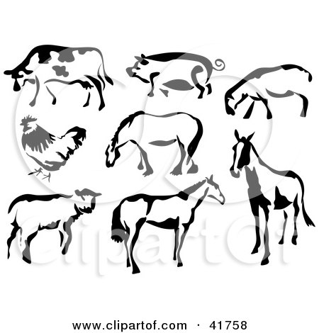 Clipart Illustration of Black And White Cow, Pig, Sheep, Chicken And Horses In Paintbrush Stroke Style by Prawny