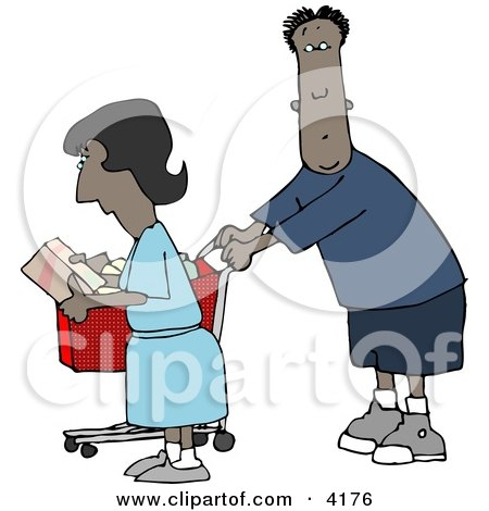 Ethnic Man and Woman Shopping Together in a Store Clipart by djart