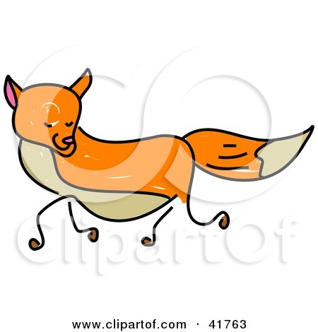 Clipart Illustration of a Sketched Orange Fox by Prawny
