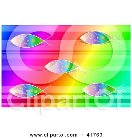 Clipart Illustration of a Rainbow Colored Ichthys Jesus ...