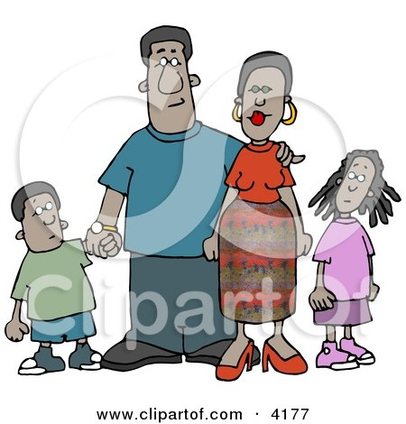 African American Family Standing Together as a Group Clipart by djart