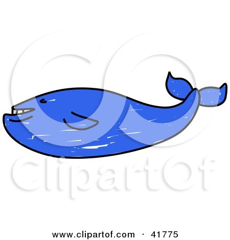 Clipart Illustration of a Blue Sketched Whale by Prawny