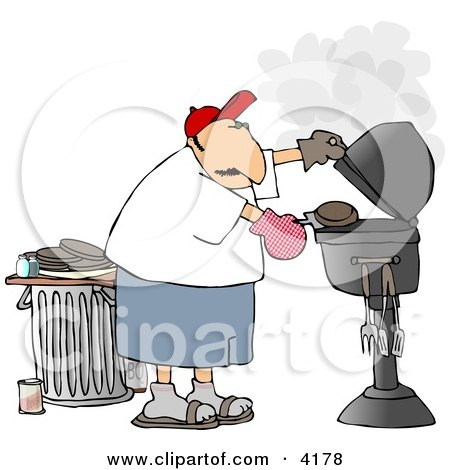 Man Putting a Hamburger On a Barbecue (BBQ) Grill Clipart by Dennis Cox