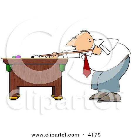 Businessman Playing a Game of Pool Clipart by djart