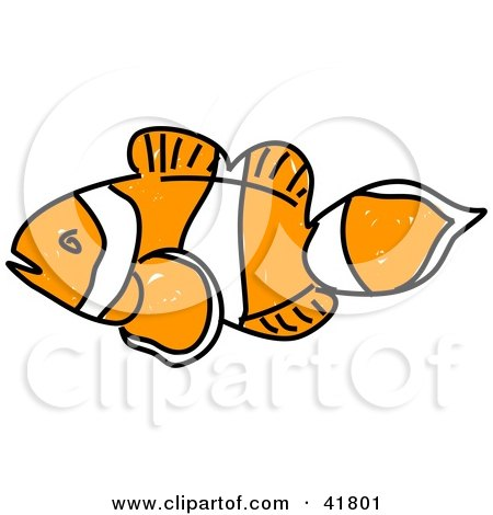 Clipart Illustration of a Sketched Clown Fish by Prawny