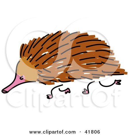 Clipart Illustration of a Sketched Brown Echidna by Prawny
