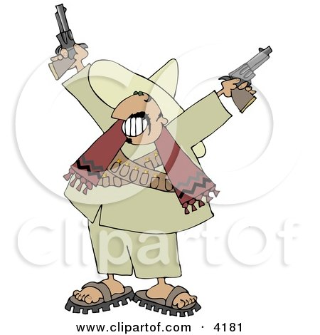 Bandito Pointing Pistols In The Air With A Smile On His Face Clipart