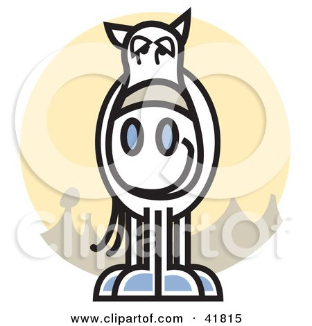 Clipart Illustration of a White Horse Facing Front, Over A Yellow Circle by Andy Nortnik