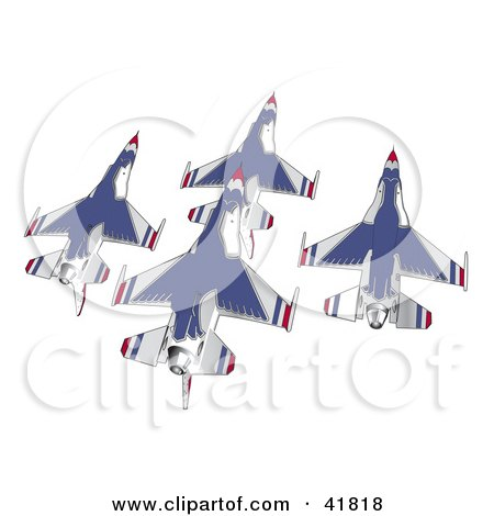 Clipart Illustration of a Team of Blue and White Jets Flying by Andy Nortnik