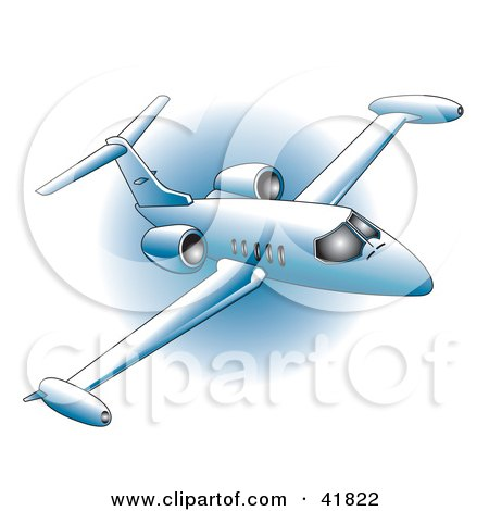 Clipart Illustration of a Blue Commercial Airliner During A Flight Over A Blue Circle by Andy Nortnik