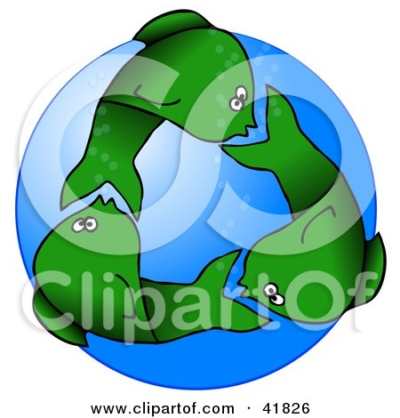 Clipart Illustration of Circling Green Fish Underwater, Resembling A Recycle Symbol by djart