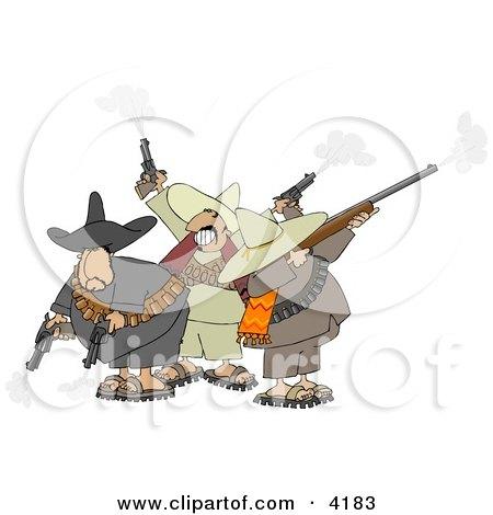 Banditos Shooting Pistols and Rifles Clipart by djart