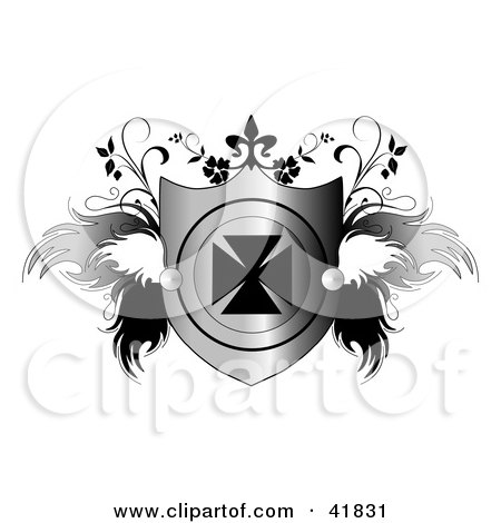 Clipart Illustration of a Shiny Heraldic Shield With An Iron Cross And Feathery Wings And Vines by C Charley-Franzwa