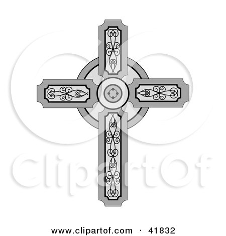 Clipart Illustration of a Medieval Christian Cross With Ornate Designs by C Charley-Franzwa