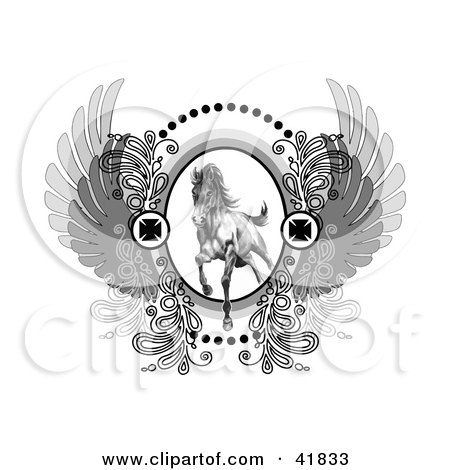 Clipart Illustration of a Majestic Charging Stallion On A Crest With Iron Crosses And Wings by C Charley-Franzwa
