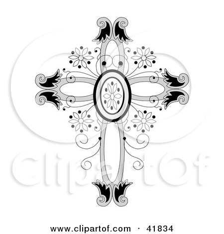 Clipart Illustration of an Ornate Floral Crucifix by C Charley-Franzwa