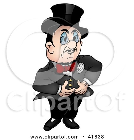 Clipart Illustration of a Gentleman In A Black Suit And Red Bow Tie by dero