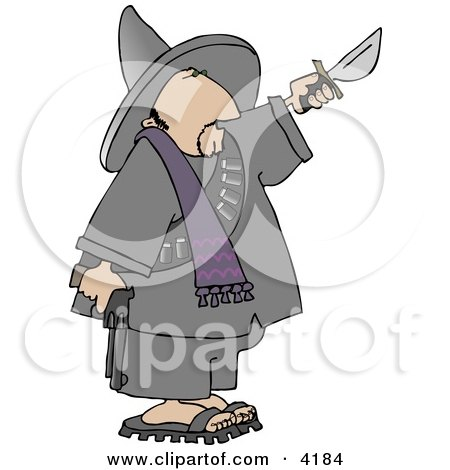 Bandito Holding a Gun and Knife Clipart by djart