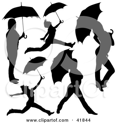 Clipart Illustration of Five Black Silhouetted Women Jumping And Posing With Umbrellas by dero