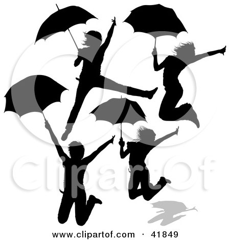 Clipart Illustration of Four Silhouetted Women Jumping With Umbrellas by dero