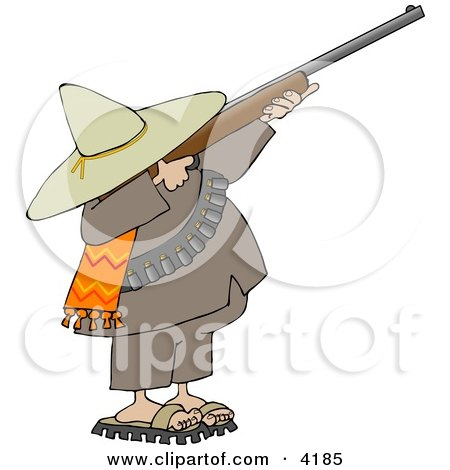 Bandito Aiming a Rifle and Getting Ready to Shoot Clipart by djart