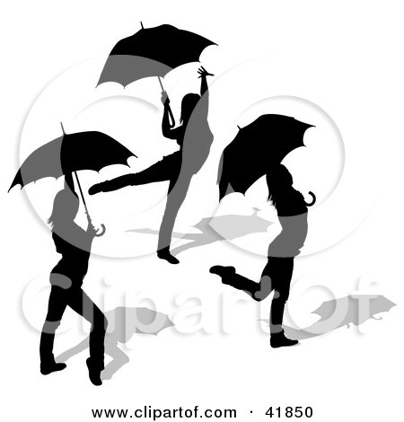 Clipart Illustration of Three Black Silhouetted Women Dancing With Umbrellas by dero