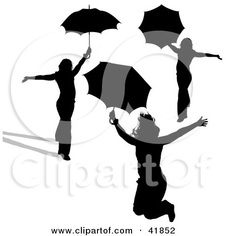 Clipart Illustration of Three Black Silhouetted Women Presenting With Umbrellas by dero