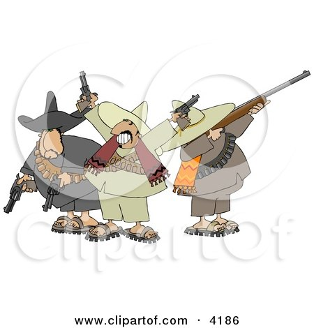 Riled Up Mexican Banditos Pointing Guns and Rifles Clipart by djart