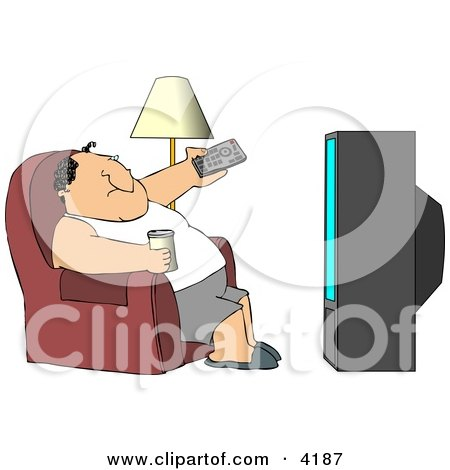 Man Sitting On a Couch, Channel Surfing the TV, and Drinking Beer Clipart by djart