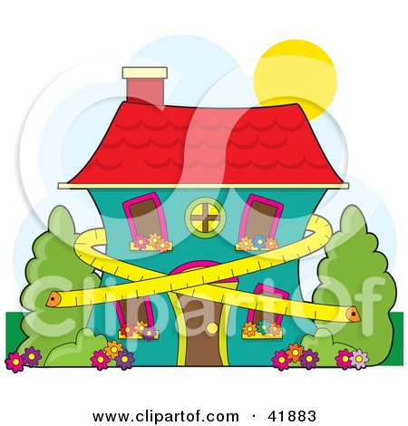 Clipart Illustration of a Tape Measure Around A Two Story Home, Symbolizing Conservation And Dieting by Maria Bell