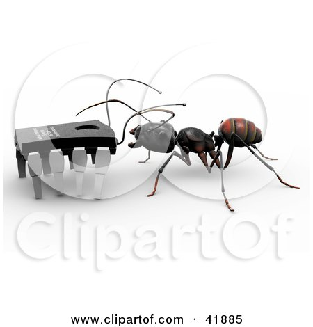 Clipart Illustration of a Worker Ant Talking to a Micro Chip by Leo Blanchette