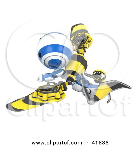 Clipart Illustration of a 3d Blue And White AO-Maru Robot Flying With Futuristic Wings by Leo Blanchette