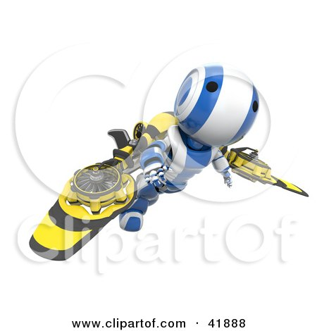 Clipart Illustration of a 3d Blue And White AO-Maru Robot Flying With Mechanical Wings by Leo Blanchette